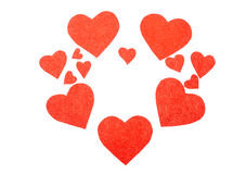 Some red hearts. On a white background Royalty Free Stock Photography