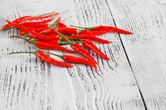 Some red hot chilly peppers on a wooden table royalty free stock image