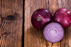 Some Red Onions. (detailed close-up shot) on wooden background Stock Photo