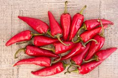 Some red spicy chili peppers. On wooden table stock photography