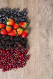 Some Redfruits over a wooden table. Some gooseberries, raspberries, strawberries and blueberries over a wooden table Stock Images