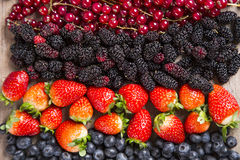 Some Redfruits over a wooden table. Some gooseberries, raspberries, strawberries and blueberries over a wooden table royalty free stock photos