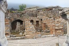 Some of the Restored Ruins of Ancient Ephesus in Turkey stock photo