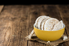 Some Rice Cakes. On an old wooden background (detailed close-up shot Stock Photos