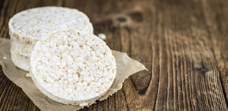 Some Rice Cakes. On an old wooden background (detailed close-up shot royalty free stock image