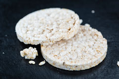 Some Rice Cakes. On an old wooden background (detailed close-up shot stock image