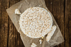 Some Rice Cakes. On an old wooden background (detailed close-up shot royalty free stock photos