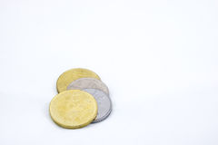 Some Ringgit Coins on White Background. Some Ringgit Coins of Malaysia on White Background royalty free stock photos