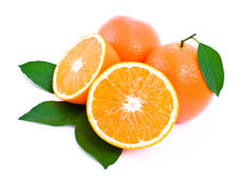 Some ripe, juicy oranges and green leaves. Stock Photos
