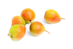 Some ripe pears  ower white. Some ripe pears  on white background Stock Images