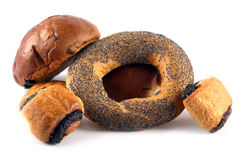 Some rolls and a bagel. On a white background Royalty Free Stock Images