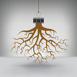 Some Roots Hung by a Binder Clip. For Print or Web vector illustration