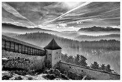 Inside the Rasnov fortress, Transylvania, Romania. stock photography