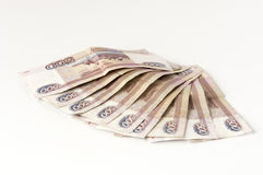 Some russian banknotes on a grey background Royalty Free Stock Photography