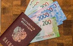 Some Russian currency, including the new 200 and 2000 Ruble bills. That were released not long ago Royalty Free Stock Image