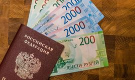 Some Russian currency, including the new 200 and 2000 Ruble bills. That were released not long ago Royalty Free Stock Photo