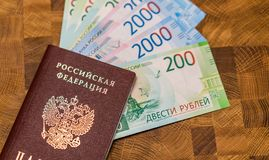Some Russian currency, including the new 200 and 2000 Ruble bills. That were released not long ago Stock Photography
