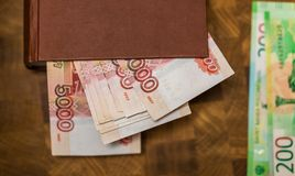 Some Russian currency, including the new 200 and 2000 Ruble bills. That were released not long ago Stock Photo