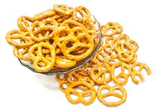 Some salted pretzels on white Royalty Free Stock Images