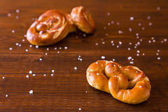 Some salty cooked pretzel. On a table Stock Image