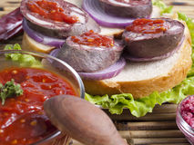 Sausage sandwiches Royalty Free Stock Photos