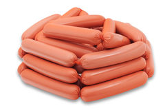 Some sausages. Isolted on white background Stock Image