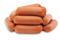 Some sausages. Isolted on white background Stock Photos