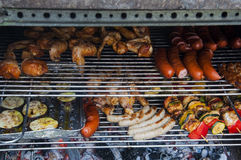 Some sausages, poultry, shashlik grilled on a barbeque Stock Photos