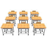Some School Desk Front View Stock Photography