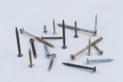 Some screws. On a white background stock images