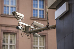 Some security cameras. Some plain security cameras royalty free stock image