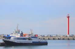 Some ships in seaport of Sochi Royalty Free Stock Images