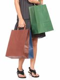 Some shopping bags. Carried by a young lady Royalty Free Stock Image