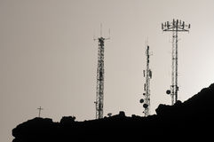Some Silhouetted Antennas Royalty Free Stock Photography