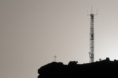 Some Silhouetted Antennas. On the top of a Hill Stock Photo