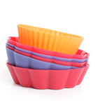 Some silicone bakeware. Over white, studio royalty free stock photo