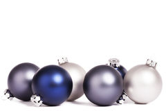 Some silver and blue christmas balls. On white background Stock Photo