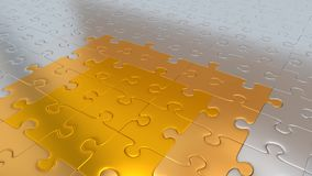 Silver Puzzle Pieces on all other the floor becoming Gold pieces. Some Silver Puzzle Pieces on all other the floor becoming Gold pieces Stock Images