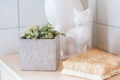 Some simple bathroom decoration ideas. Some simple and minimalistic deco ideas to make your bathroom more beautiful Stock Photos