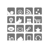 Web & Social Networks Icon Set | White & Grey Series Stock Images
