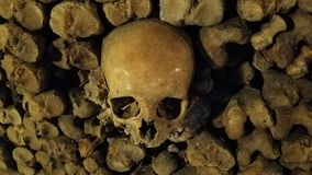 Shiny  Skull and Bones. Some of the skulls inside the Paris Catacombs appear shiny as if they have been polishes. It has been speculated that this is from Royalty Free Stock Images