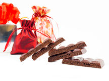 Some slices of black porous chocolate Stock Photo