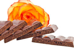 Some slices of black porous chocolate Stock Images