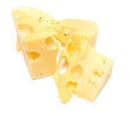 Some slices of cheese. On white. The isolated image on white. Shallow DOF Royalty Free Stock Photography