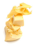 Some slices of cheese. On white. The isolated image on white with a beautiful shadow Royalty Free Stock Photography