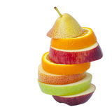 Some slices of different fresh fruits Stock Image