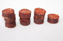 Some slices of red iberian chorizo Stock Photos