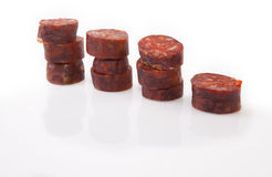 Some slices of red iberian chorizo Royalty Free Stock Images