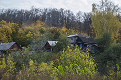 Some small wooden houses. In the autumn wood royalty free stock photography