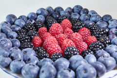 Some sort of. Berries: blueberries, blackberries, raspberries Stock Photo
